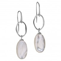 ELLE Sterling Silver MOP Eurowire Earrings