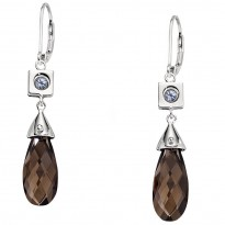 ELLE Sterling Silver Sky Blue Topaz and Smoky Topaz Lever Back Earrings