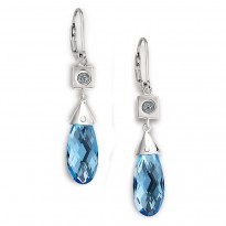 ELLE Sterling Silver Sky Blue Topaz and Created Blue Quartz Lever Back Earrings