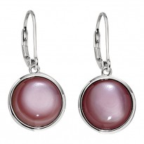 ELLE Sterling Silver Pink Mother of Pearl Lever Back Earrings