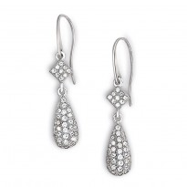 ELLE Sterling Silver Micro Pave CZ Eurowire Earrings