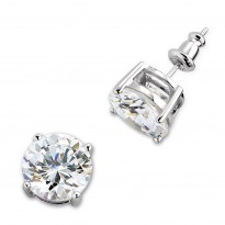 ELLE Sterling Silver CZ Stud Earrings (Dia Equiv 7.5 ct.t.w.)