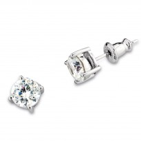 ELLE Sterling Silver CZ Stud Earrings (Dia Equiv 1.5 ct.t.w)