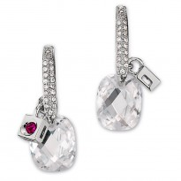 ELLE Sterling Silver CZ Eurowire Earrings (Dia Equiv. 5.8 ct.t.w.)