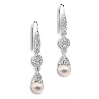ELLE Sterling Silver Pearl and Micro Pave CZ Eurowire Earrings