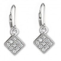 ELLE Sterling Silver Micro Pave CZ Lever Back Earrings