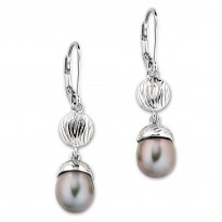 ELLE Sterling Silver Grey Pearl Lever Back Earrings