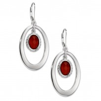 ELLE Sterling Silver Red Agate Lever Back Earrings
