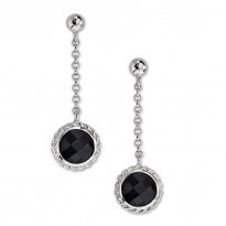 ELLE Sterling Silver Black Agate Post Earrings