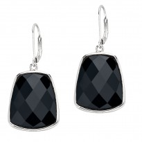 ELLE Sterling Silver Black Agate Lever Back Earrings