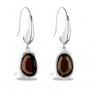 ELLE Sterling Silver Smoky Quartz Eurowire Earrings