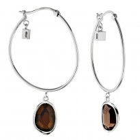 ELLE Sterling Silver Smoky Quartz Hoop Earrings