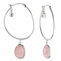 ELLE Sterling Silver Rose Quartz Hoop Earrings