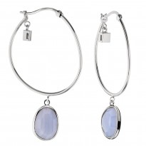 ELLE Sterling Silver Blue Lace Agate Hoop Earrings
