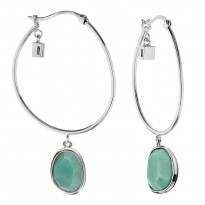 ELLE Sterling Silver Amazonite Hoop Earrings