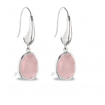 ELLE Sterling Silver Rose Quartz Eurowire Earrings