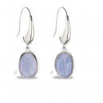 ELLE Sterling Silver Blue Lace Agate Eurowire Earrings