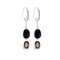 ELLE Sterling Silver Black Agate and Smoky Quartz Eurowire Earrings