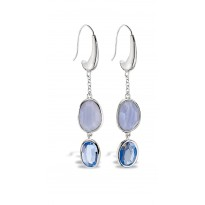 ELLE Sterling Silver Blue Lace Agate and Created Blue Quartz Eurowire Earrings