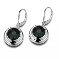 ELLE Sterling Silver Created Green Quartz Lever Back Earrings