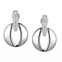 ELLE Sterling Silver Micro Pave CZ Post Earrings