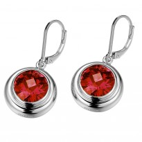 ELLE Sterling Silver Garnet CZ Lever Back Earrings