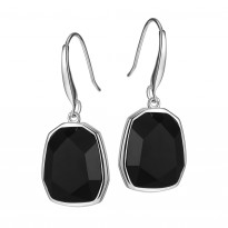 ELLE Sterling Silver Black Agate Eurowire Earrings