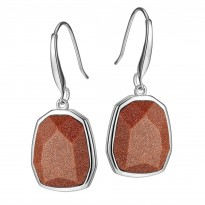 ELLE Sterling Silver Brown Goldstone Eurowire Earrings