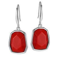 ELLE Sterling Silver Created Coral Eurowire Earrings