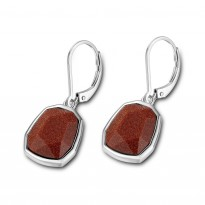 ELLE Sterling Silver Brown Goldstone Lever Back Earrings