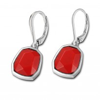 ELLE Sterling Silver Created Coral Lever Back Earrings