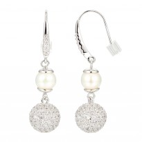 ELLE Sterling Silver Pearl And Micro Pav CZ Eurowire Earrings