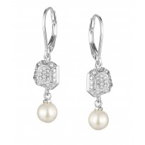 ELLE Sterling Silver Pearl And Micro Pav CZ Lever Back Earrings