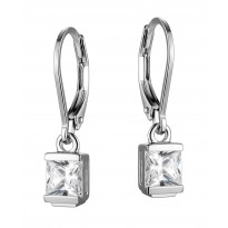 ELLE Sterling Silver Sparkling CZ Lever Back Earrings