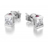 ELLE Sterling Silver Sparkling CZ Post Earrings