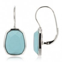 ELLE Sterling Silver R. Turquoise Lever Back Earrings