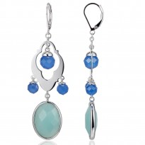 ELLE Sterling Silver Amazonite And Blue Agate Lever Back Earrings