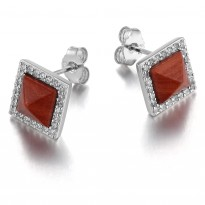 ELLE Sterling Silver Red Jasper And Micro Pav Post Earrings