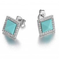 ELLE Sterling Silver Created Turquoise And Micro Pav Post Earrings