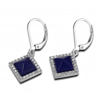 ELLE Sterling Silver Created Lapis And Micro Pav CZ Lever Back Earrings