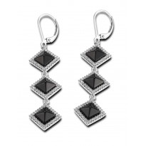 ELLE Sterling Silver Black Agate And Micro Pav CZ Lever Back Earrings