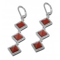ELLE Sterling Silver Red Jasper And Micro Pav CZ Lever Back Earrings