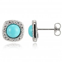 ELLE Sterling Silver Created Turquoise And Micro Pav CZ Post Earrings