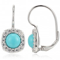 ELLE Sterling Silver Created Turquoise And Micro Pav CZ Lever Back Earrings