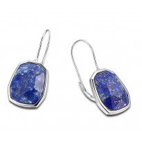 ELLE Sterling Silver Lapis Lever Back Earrings