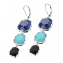 ELLE Sterling Silver Blue Goldstone, Lapis, and R. Turquoise Lever Back Earrings