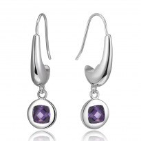 ELLE Sterling Silver Tanzanite CZ Eurowire Earrings