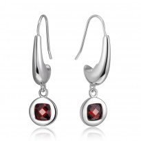 ELLE Sterling Silver Garnet CZ Eurowire Earrings
