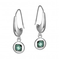 ELLE Sterling Silver Created Green Quartz Eurowire Earrings