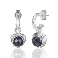 ELLE Sterling Silver Blue Goldstone and White Crystal Doublet Post Earrings